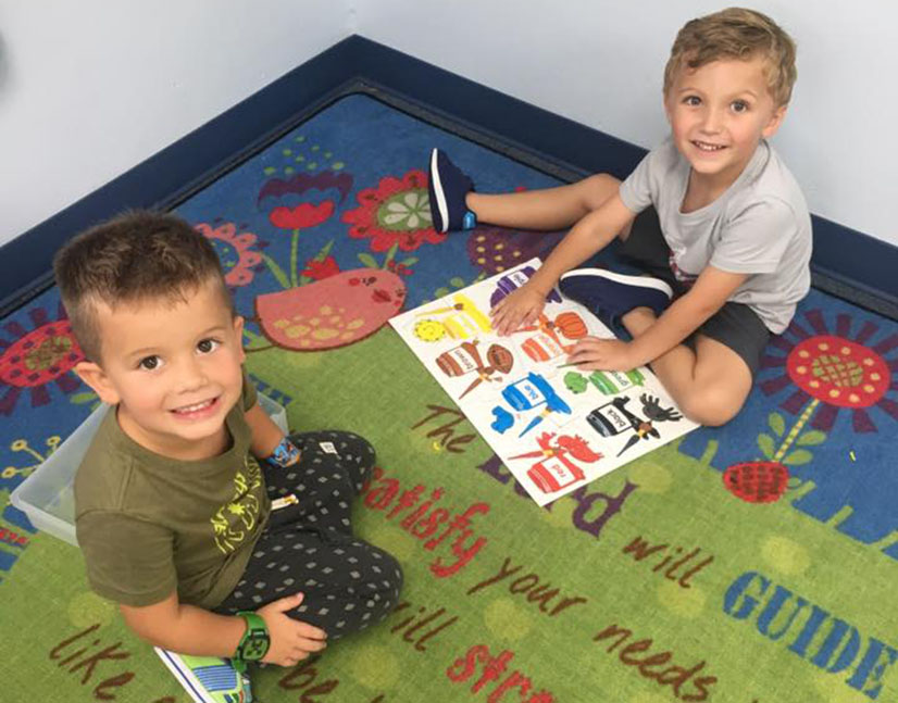 kindergarten boys in class at a Preschool & Daycare Serving Carmel, Indiana